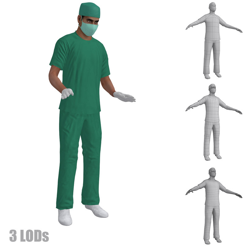 3d model of rigged surgeons 3 s