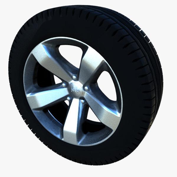free wheel jeep grand cherokee 3d model