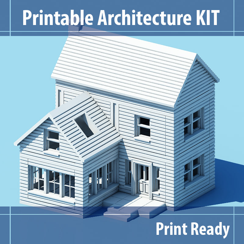 free printable architecture kit series 1 3d model