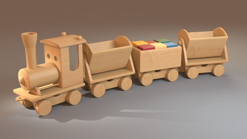 wooden train 3d obj