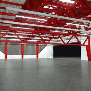 3d - hangar night scenes model