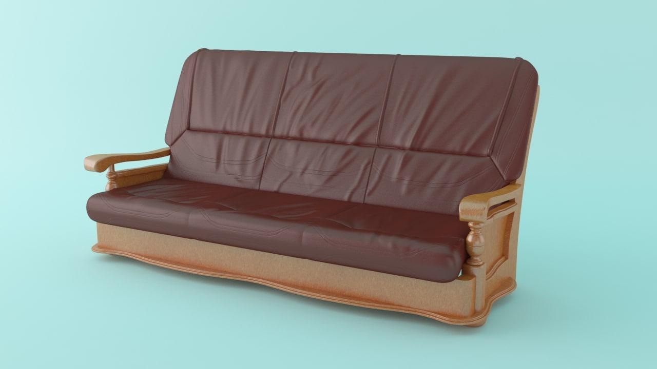 3d 3 seater sofa model