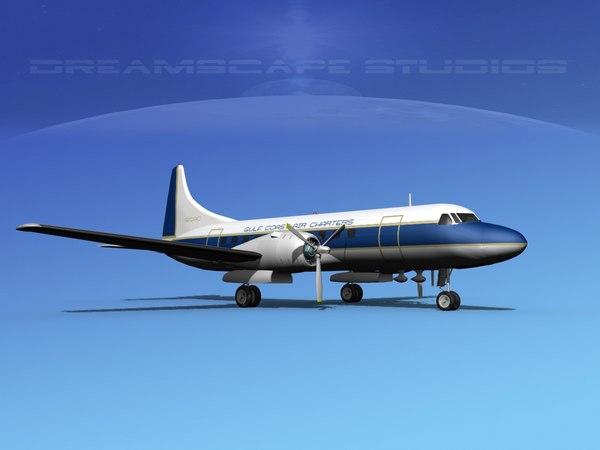propellers convair 340 charter 3d model