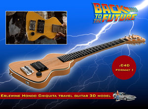 3d model erlewine chiquita travel guitar