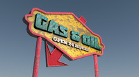 3d model old gasoline sign