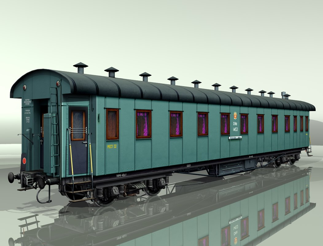 carriage passenger car rail 3d model