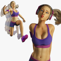 Fitness Model Rigged and Animated