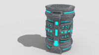 3d model of sci-fi barrel