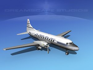 3d model propellers convair 340 airlines