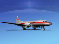 propellers convair 340 airlines 3d model