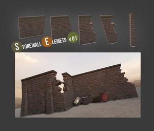 maya stone wall construction set