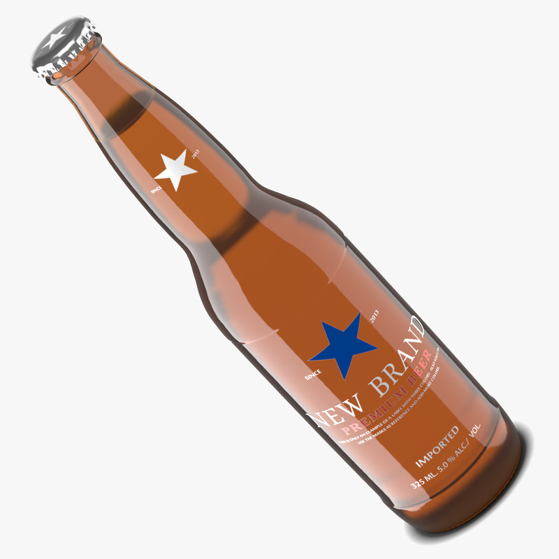 beer bottle amber 3d model