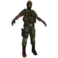 paramilitary soldier 3d max
