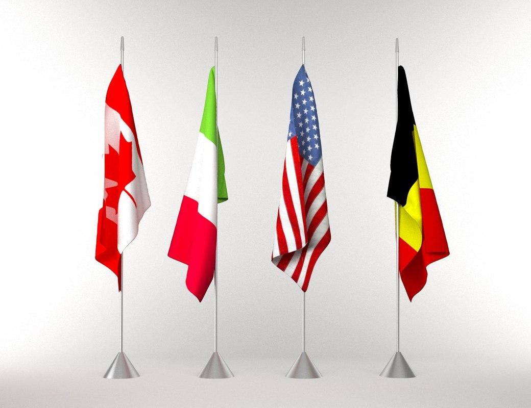 flags pole 3d max