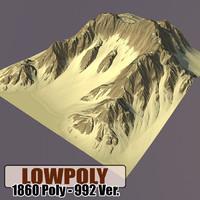 3d mountain games terrain model