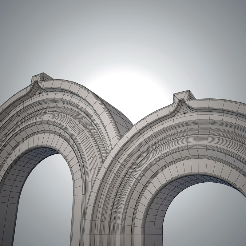 white marble arch 3d 3ds