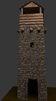 3d stone tower model