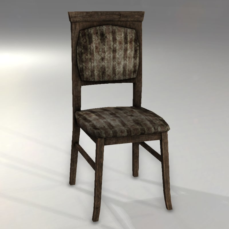 3d model old wooden chair