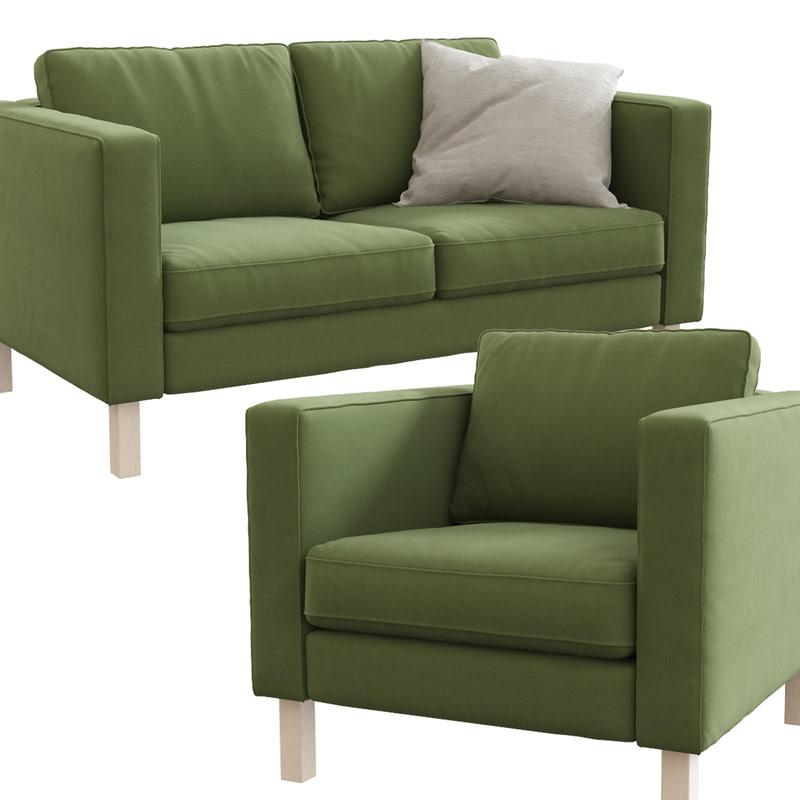 3d ikea karlstad loveseat armchair model