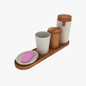 john lewis acacia bathroom accessories 3d obj