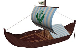viking cargo ship knorr 3d obj