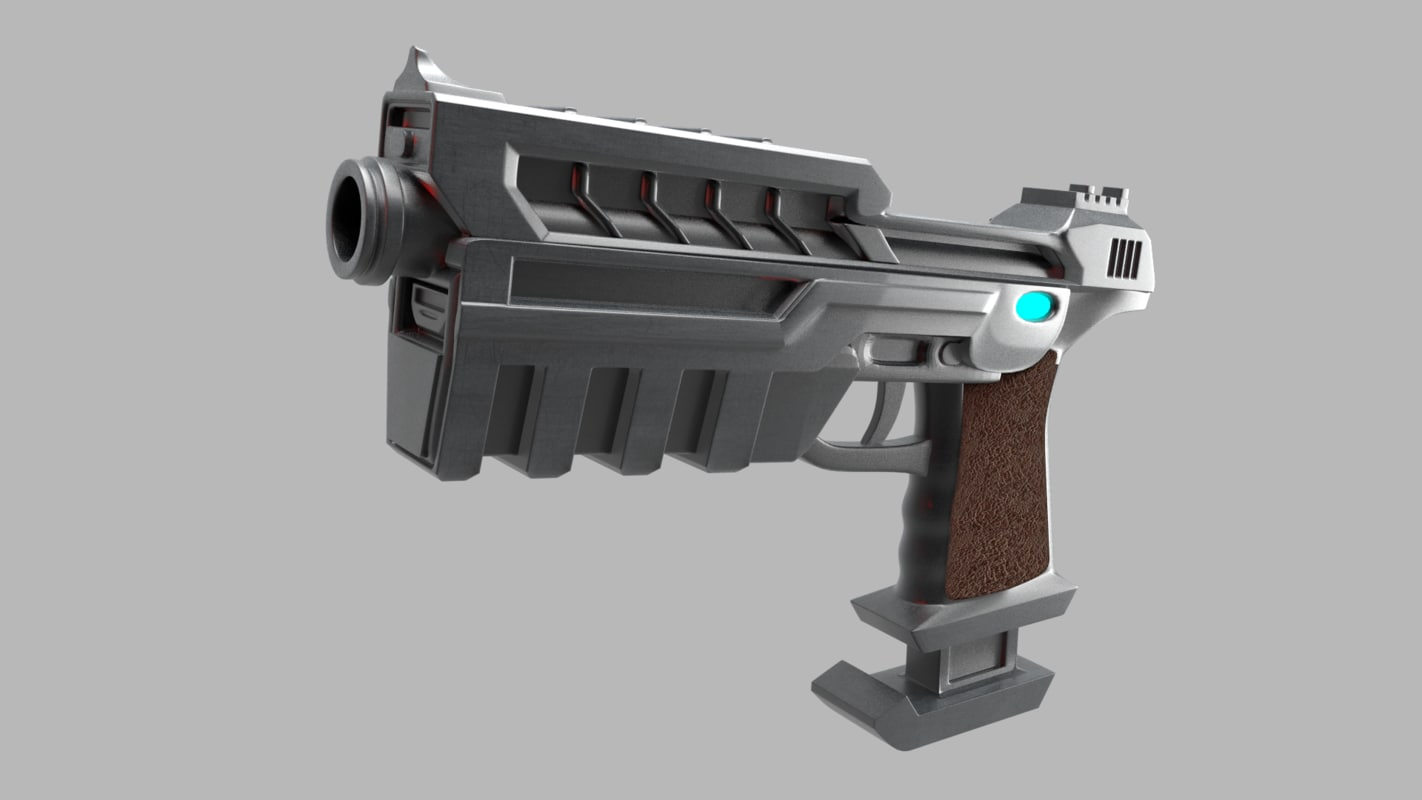 sci-fi pistol gun 3d 3ds