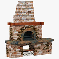 3d backyard brick barbecue