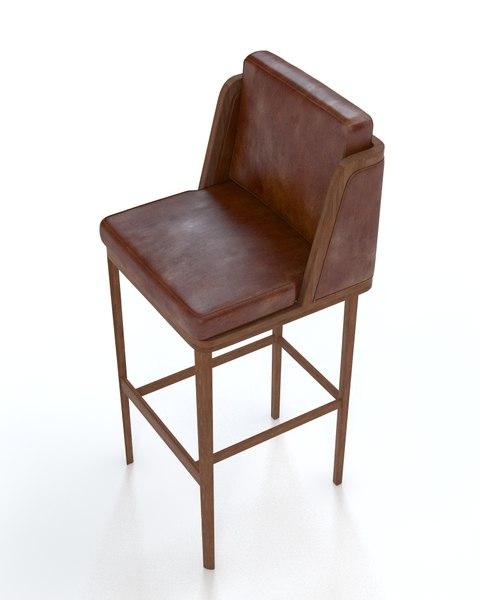 throne upholstered barstool 3d model
