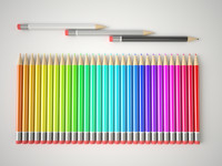 3d multicolor pencils set model