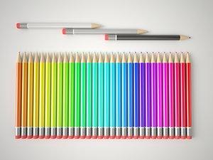 3d multicolor pencils set model