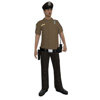 3d model rigged police officer