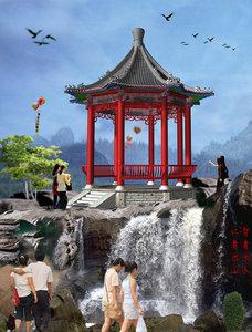 3d model chinese octagonal pavilion
