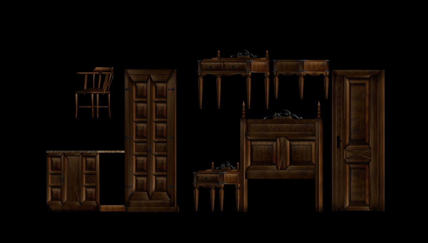 3ds max wood bedroom