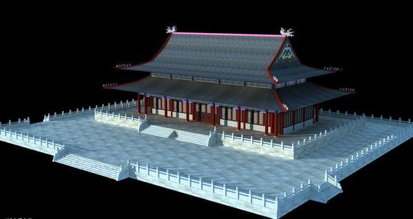 chinese mahavira hall 3d model