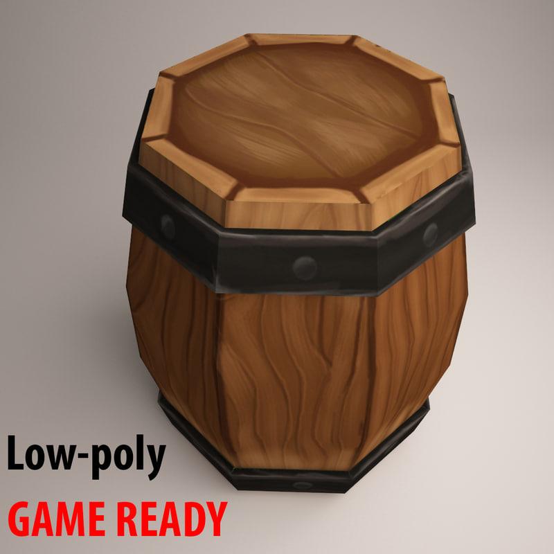 3d model wooden barrel handpainted