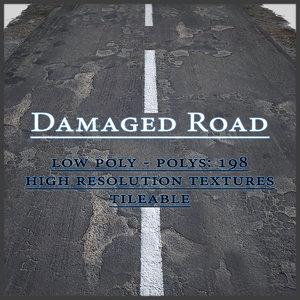 3d damaged asphalt road