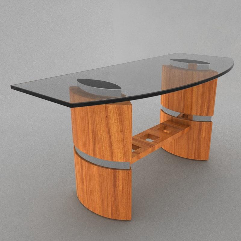 3d model glass desk
