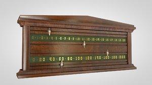 3d model snooker scoreboard