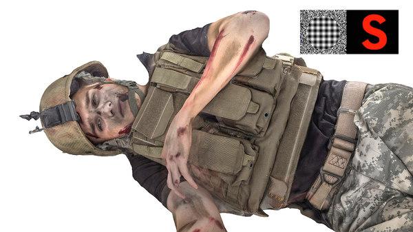 3d dead soldier model