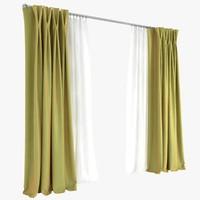 curtains double pinch pleat 3d model