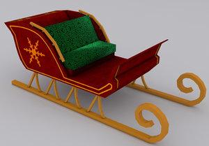 christmas sleigh 3d obj