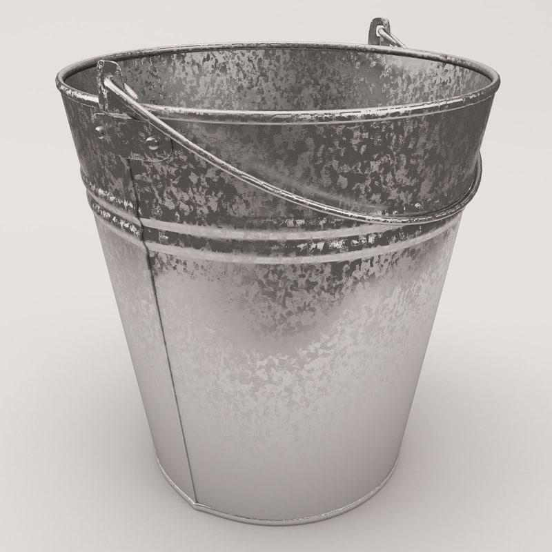 3d model of bucket aluminium metall