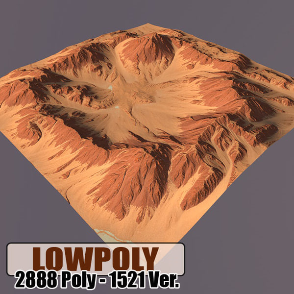 3d model of red mountain