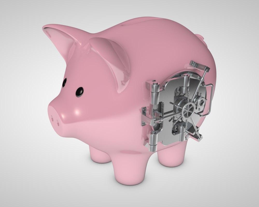3d piggy bank vault model