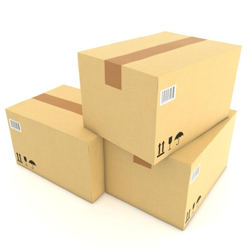 cardboard boxes obj