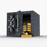 safe gold 3d model