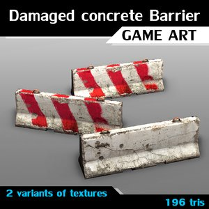 3d variants damaged concrete barrier