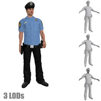 3d rigged police officer s model