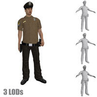 rigged police officer s hat 3d max