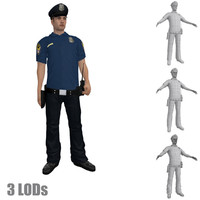 3d model rigged police officer s